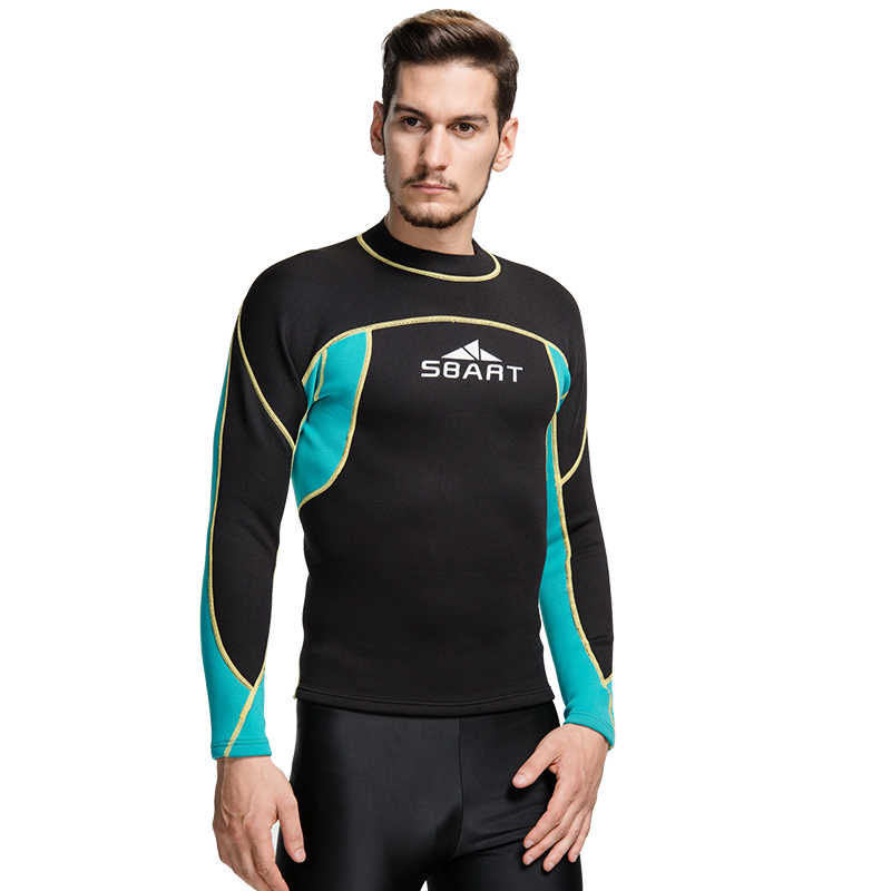 Sbart neopreen wetsuit 2mm surf swim tops mannen lange swim shirt thermische swim top fitness dive zwemmen pak