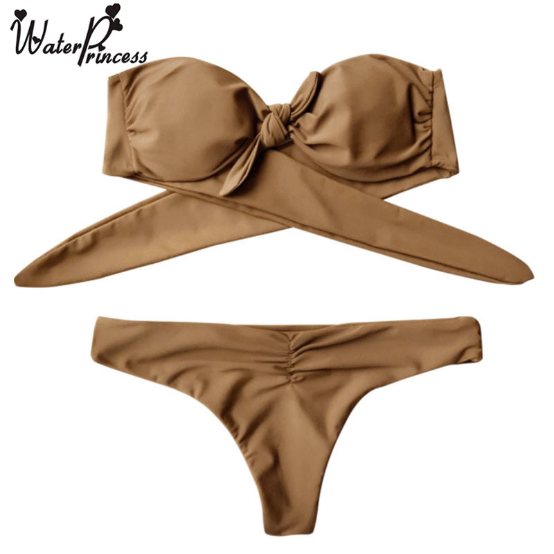 Water princess summer front knot bandeau push up new bikini sexy swimsuit bathing suit women brown