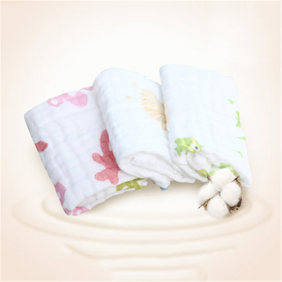 Square Cartoon Baby Towel Cotton Newborn Muslin Wash Wipes High Quality Care For Newborns Towels For Babies 70A0099