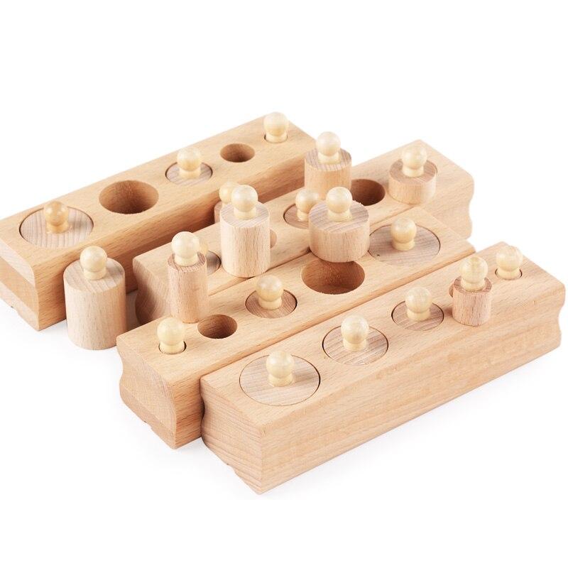 De Madera juguete educativo de Montessori del bloque de cilindro de materiales Montessori Sensorial Montessori bebé juguetes Brinquesdos Juguest UC1366H