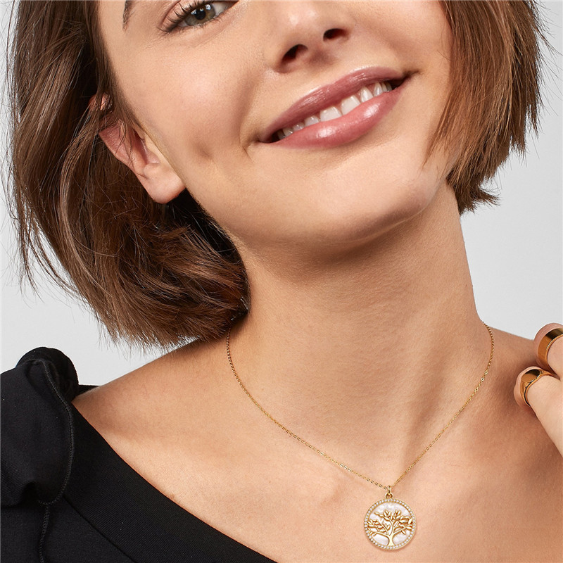 Popular Jewelry Gold Plated Brass CZ Pearl Shell Pendant Necklace Women (3)