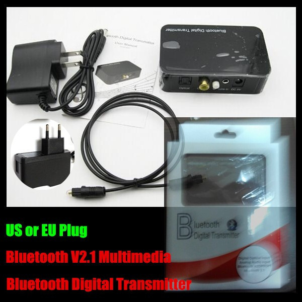 V2.1 3.5mm Multimedia Digital Audio Bluetooth Transmitter with Optical/Coaxial input,A2DP/OPT Stereo Dongle Adapter,For PC/TV
