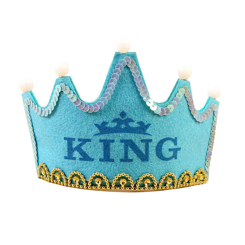 Princess King Girl Boy Crown Kids Adult Happy Birthday Party Decorations Theme Birthday Hats Decor Cap Led Lighting Headband Party Hats Aliexpress
