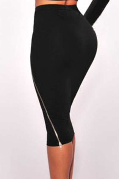502be4fd4 Dear Lover OL Slim Fitted Knee Length Black Silver Zipper Accent Straight  High Waist Skirts Women Jupe saias femininas LC71184-in Skirts from Women's  ...