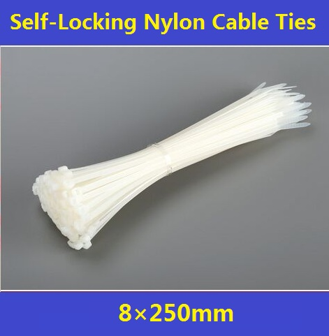 200Pcs/Pack    8*250mm Self-Locking Nylon Cable Ties Plastic Wire Zip Ties  Free Shipping