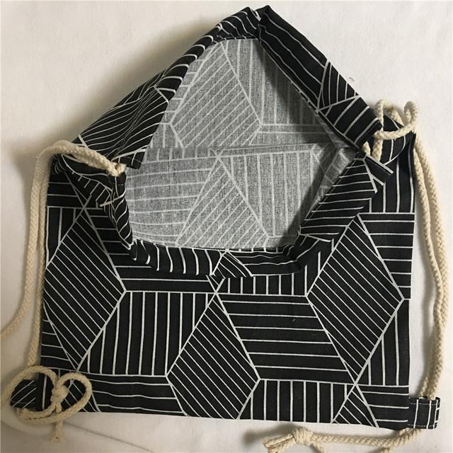 YILE New Cotton Linen Drawstring Travel Backpack Student Book Bag Geometry Black Diamond B411