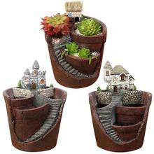 Innovative Hanging Garden Resin Flower pots Balcony For Office Living Room Decoration Succulent Plants Bonsai Holder