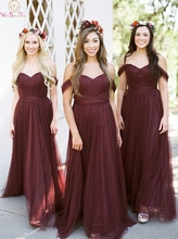 Burgundy Bridesmaid Dresses 2019 Floor-Length Long Wedding Party Dress Elegant Off Shoulder Sweetheart Neck Prom Gown