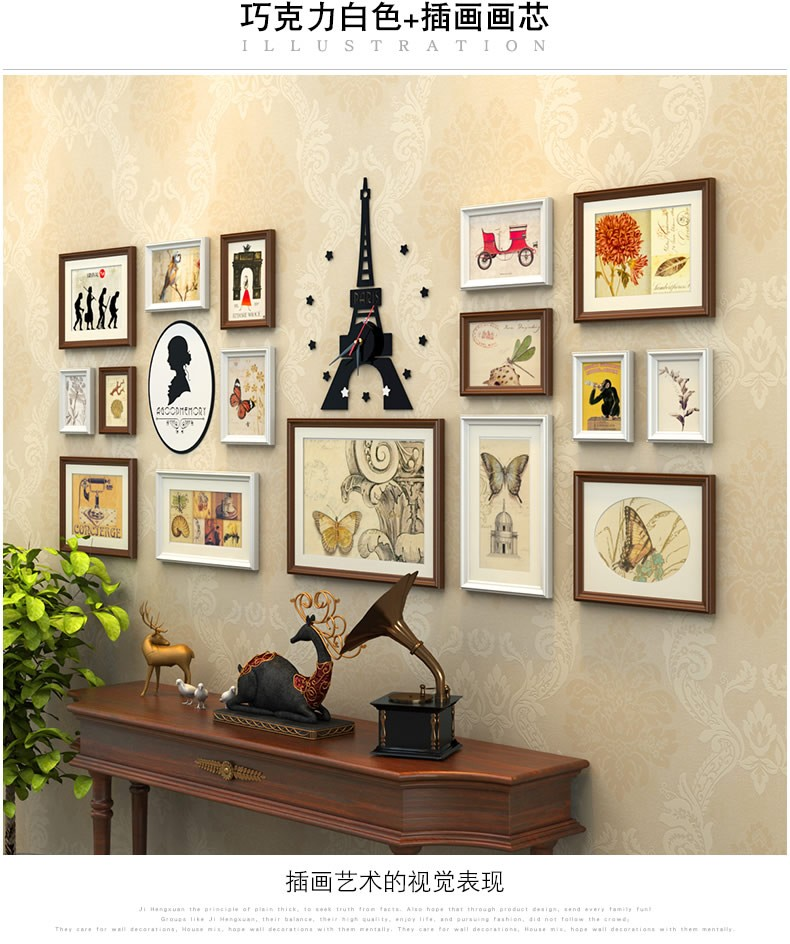 Creative 16 pcs set collage photo frame with tower clockblack white photo frames photosvintage picture frames set wall decor