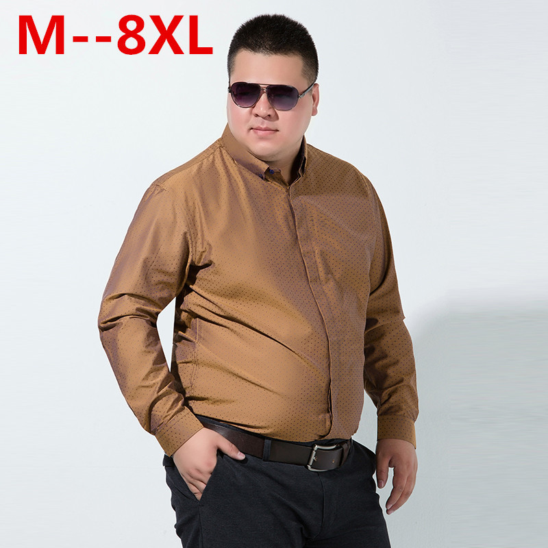 10XL 8XL 6X Men Casual Long Sleeved Printed shirt Loose Fit Male Social Business Dress Shirt Brand Men Clothing Soft Comfortable