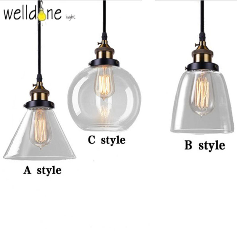 Nordic Vintage Glass Pendant Lamp vintage Country Kitchen Lights Fixtures Modern Edison Industrial Luminaire 110v 220v Lighting