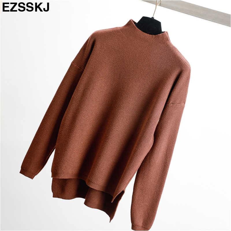 68edc6c8bb ... Korean Style Loose Sweater Women Pullover Casual Half Turtleneck Long  Sleeve Oversized Knit Sweater Female Jumpers ...
