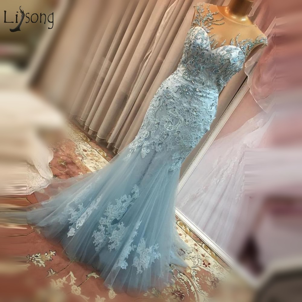 Modest Sky Blue Crystal Mermaid   Evening     Dresses   2018 Lace Appliques Long Formal Party   Dress   Robe De Soiree Abiye Prom Gowns