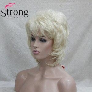 Image 4 - StrongBeauty קצר שכבות בלונד קלאסי כובע מלא סינטטי פאה נשים שיער פאות צבע אפשרויות