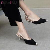SARAIRIS Hot Sale Genuine Cow Leather Buckle Strap Elegant Pumps Woman Shoes Strange Style Black Green Shoes Woman Pumps