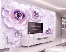 Beibehang Custom wallpaper high quality embossed romantic purple peony European 3d living room TV background wall 3D