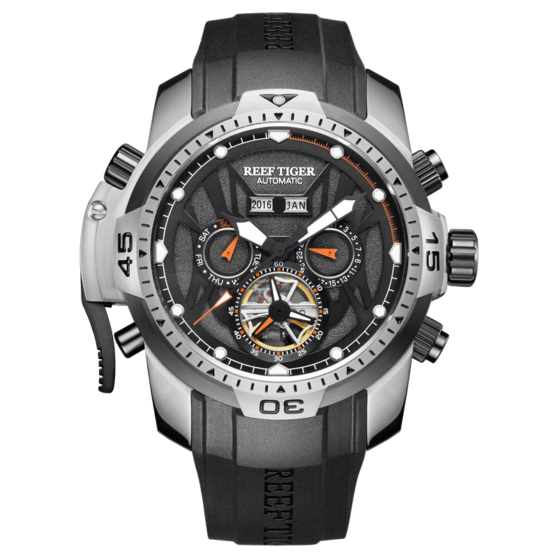 Reef Tiger RT Sport Watch Complicated Dial with Year Month Perpetual Calendar Big Steel Case Watches