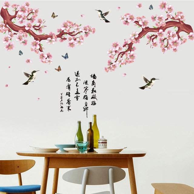 12f7be589c Chinese Calligraphy Peach Flowers Tree Flying Birds Butterfly Wall Sticker  Living Room Office Oriental Wallpaper Poster Wall Art