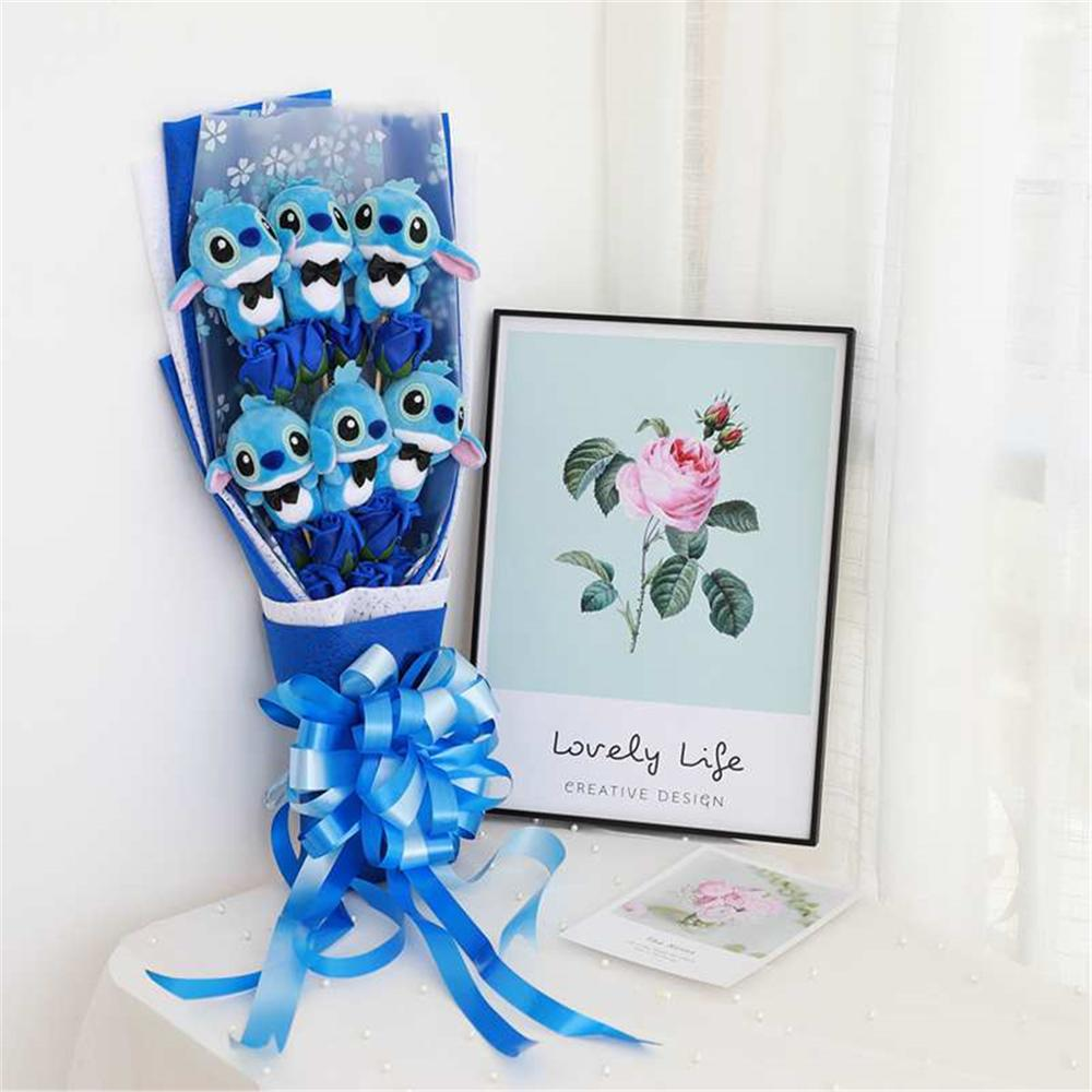 60cm Lovely Stitch&Lilo&Bear Festival Bouquet With Fake Rose Flower Doll Wedding Party Gift Girlfriend Valentine's Gift No Box