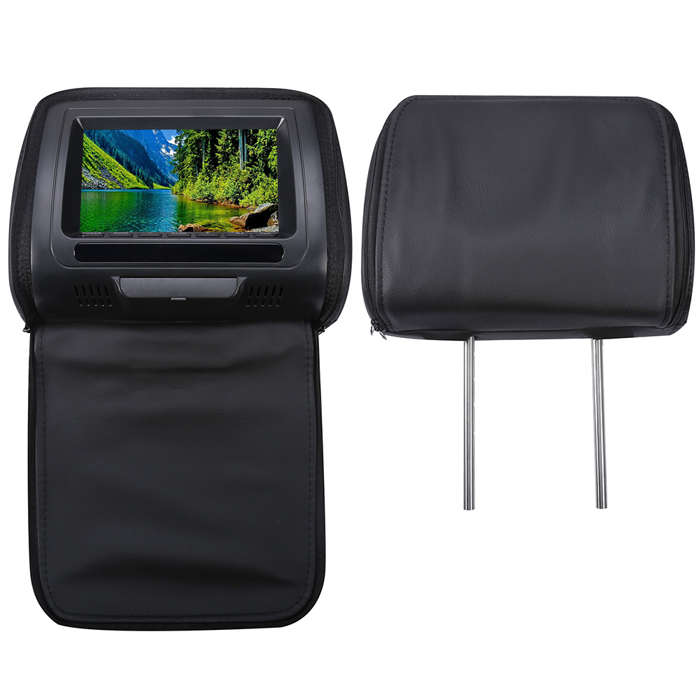 7 Inch Infrared Multifunction Zipper Cover Game Video Car Headrest Monitor Speaker DVD Player HD USB LCD Screen IR/FM Adjustable