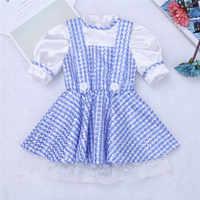 2017 Cute Blue Kids Girl Short Sleeves Polka Dots Plaid Newborn Baby Toddler Girls Halloween Costume Cosplay Party Dress 12 M-8Y