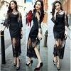 See Through Vintage Long Evening Dress Black Vestidos De Noche Robe De Soiree Lace Maxi Wedding