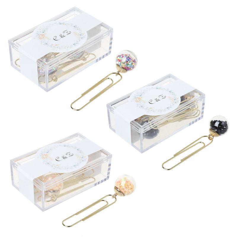 Office Binding Supplies Clips 2019 New 5pcs/box Glass Ball Paper Clips Notes Marker Diy Metal Binding Memo Paper Clip Bookmark Novelty