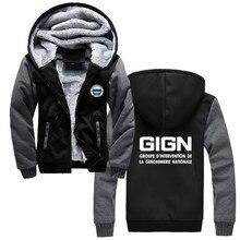 프랑스 특수 엘리트 경찰 부대 GIGN Gendarmerie Hoodies 남성 겨울 면화 스웨터 힙합 자켓 하라주쿠 Streetwear