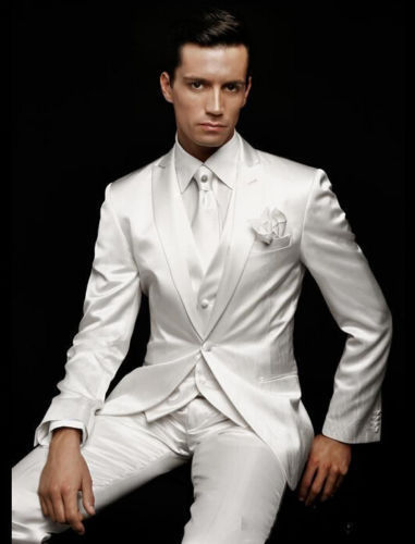 High-End Men Suits Store Latest Coat Pant Designs White Wedding Suits for Men Slim Fit Groom Prom Blazer Marriage Gentle Simple Tuxedo 3 Piece Terno ms7