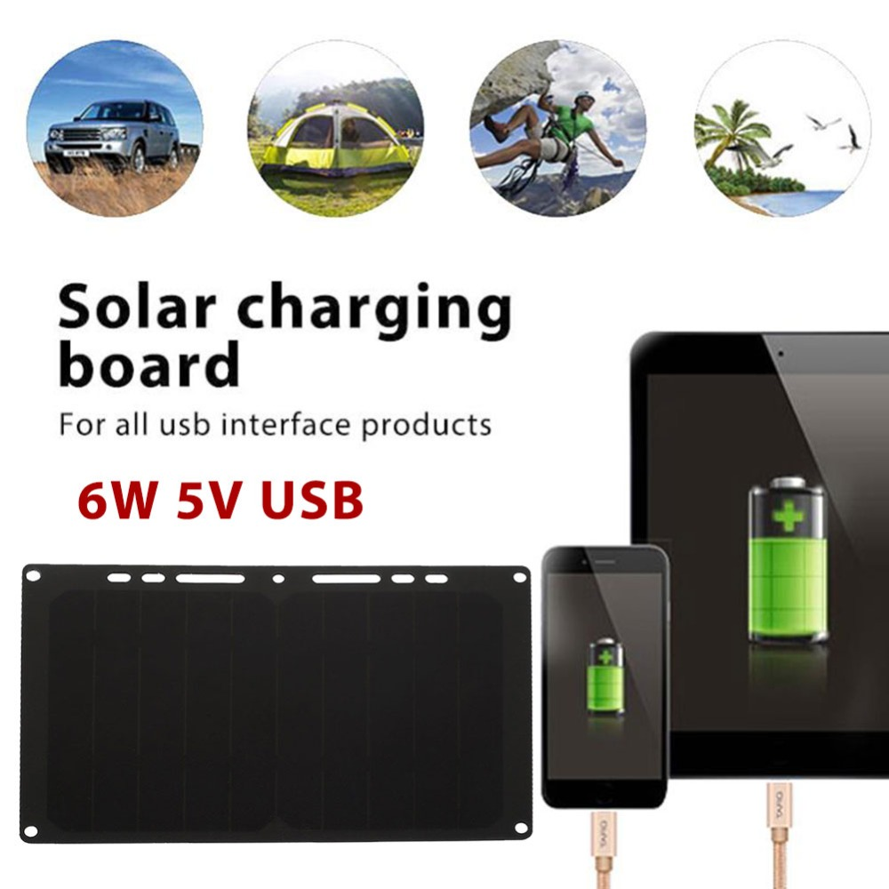 USB Port 6W 5V Portable Solar Charger Panel Solar Panel Solar Generator Sunpower Climbing Power Supply Phone Charger
