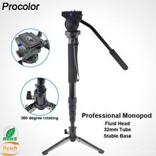 Professional Photography Aluminum 3-way Monopod with Hydraulic Fluid Head&Monopod stand base For Video Camera DSLR Camcorder цена в Москве и Питере