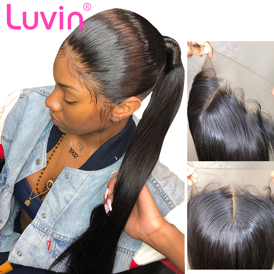 Luvin Human Hair Lace Frontal Closure With Baby Hair Straight 13x4 Ear To Ear Pre-Plucked 100% Remy Brazilian Hair Closure