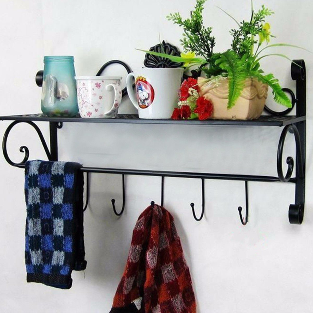 wrought iron bathroom shelf. Wrought Iron Wall Towel Rack Shelf Bathroom Storage Single Prateleira Toilet Shelving Rack-in Holders \u0026 Racks From Home :