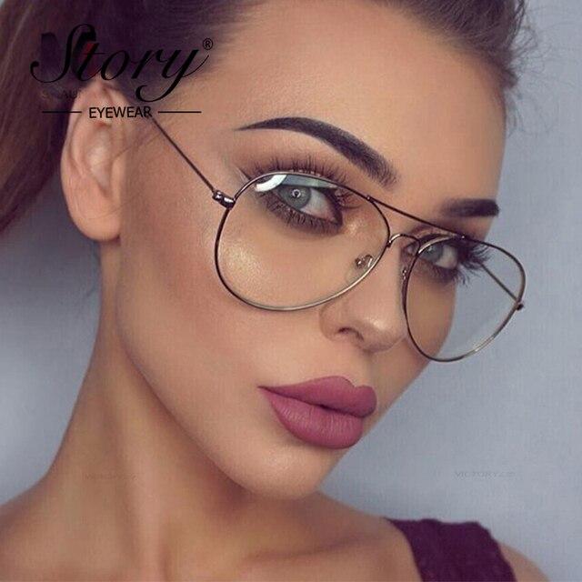 STORY 2018 Fashion Polit Glass Frame Women Retro Clear Lens Optical Glasses Brand Designer Black Frame Alloy Eyeglasses Unisex