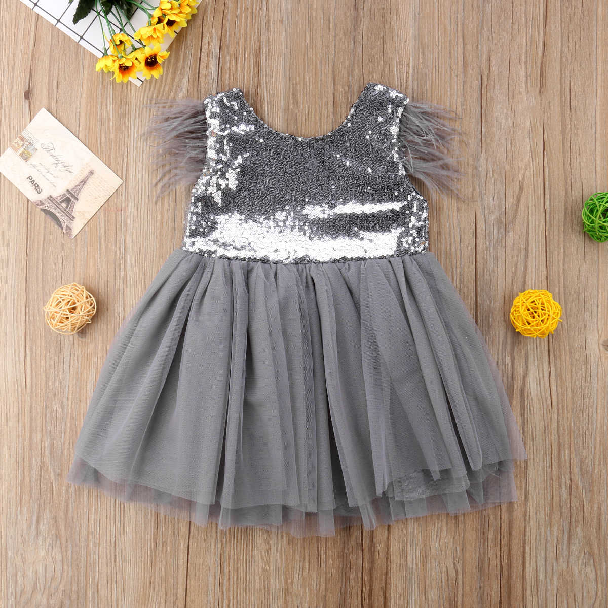 Sequins Dress For Girls Toddler Baby Girls Fur Feather Sleeveless Princess  Dress Sequins Tutu Party Prom 2bc4d0371878