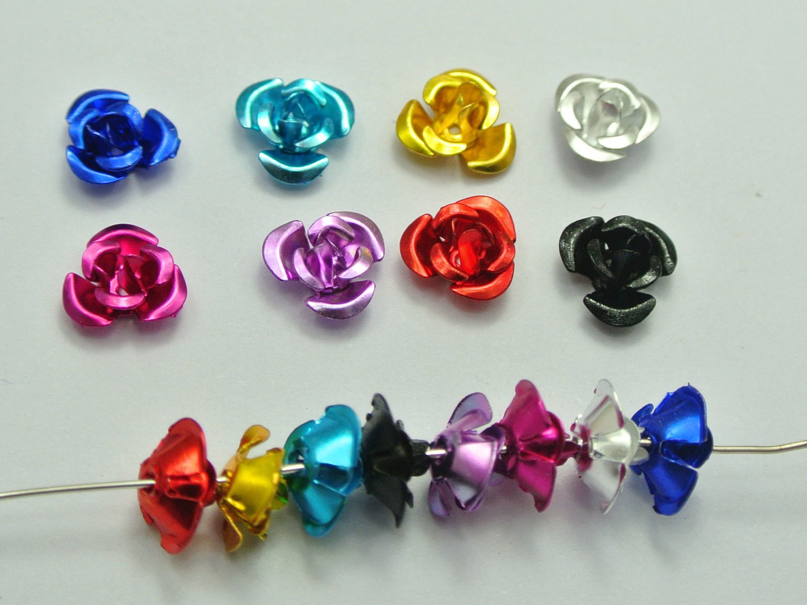 1000 Mixed Colour Aluminum Metal Rose Flower Beads 8mm