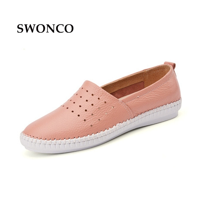 8c71c994e74 SWONCO Women s Flats Shoe Women Genuine Leather Slip On Ladies Shoe Casual  Leather Shoes Woman Loafers 2018 Female Shoes
