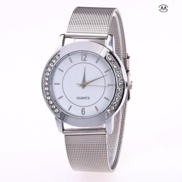 Fashion Women Crystal Golden Stainless Steel Analog Quartz Wrist Watch Womens Wa