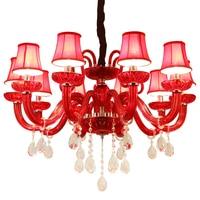 Red Crystal Chandeliers Lamp Lustres De Cristal Modern Dining Living Room Hotel Indoor Light Decoration Chandeliers