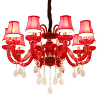 Red Crystal Chandeliers Lamp Lustres De Cristal Modern Dining Living Room Hotel Indoor Light Decoration Chandeliers