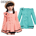 Baby children jackets for girls coat spring & autumn girls outwear big kids clothes flower double breasted child outfits 2-12 Y
