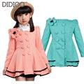 Bebé niños chaquetas para niñas abrigo de primavera y otoño de las muchachas outwear ropa de los niños grandes de flores trajes de doble botonadura niño 2-12 Y