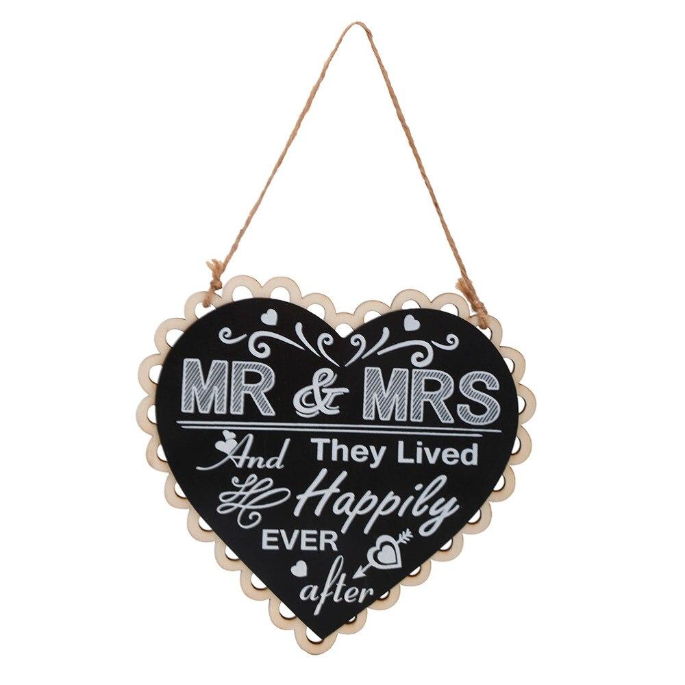 Diy Black Mr Mrs Sign Wooden Board Heart Shape Photo Booth