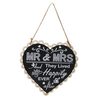 DIY Black Mr Mrs Sign Wooden Board Heart Shape Photo Booth Props For Wedding Decoration Party