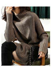 Image 5 - SZDYQH Women Autumn Winter Sweater Knitted Dresses Women Fashion Turtleneck Long Sweater Dress Ladies Warm Split Sweater Dress