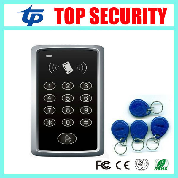 Cheap standalone smart card door access control system with 10pcs ID key 1000 user capacity RFID card door access control system metal rfid em card reader ip68 waterproof metal standalone door lock access control system with keypad 2000 card users capacity