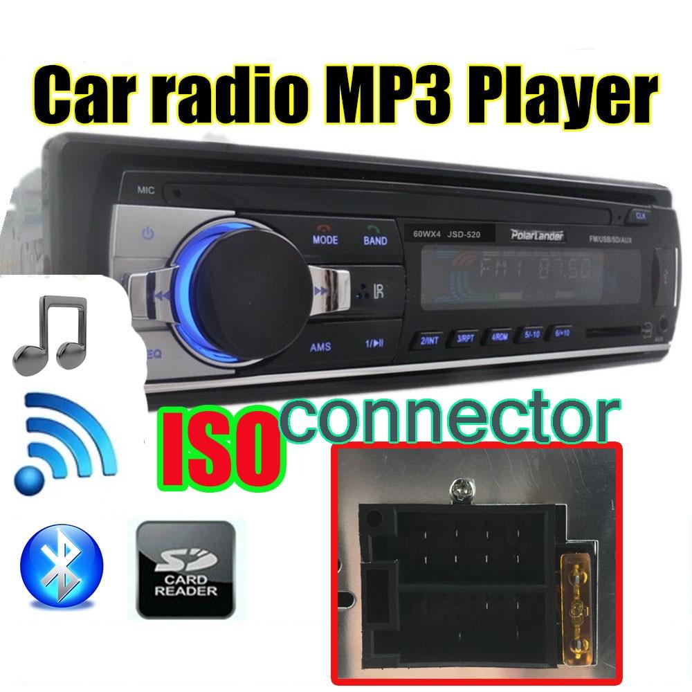 Au Tableau de Bord 1 DIN 12 V Voiture tuner Stéréo bluetooth FM Radio MP3 Audio Lecteur USB/SD MMC Port De Voiture radio bluetooth tuner ISO Port