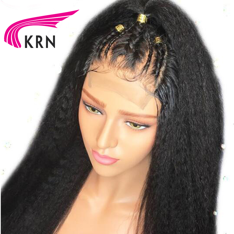 KRN Kinky Straight Brazilian Lace Front Human Hair Wigs With Baby Hair Remy Pre Plucked Lace