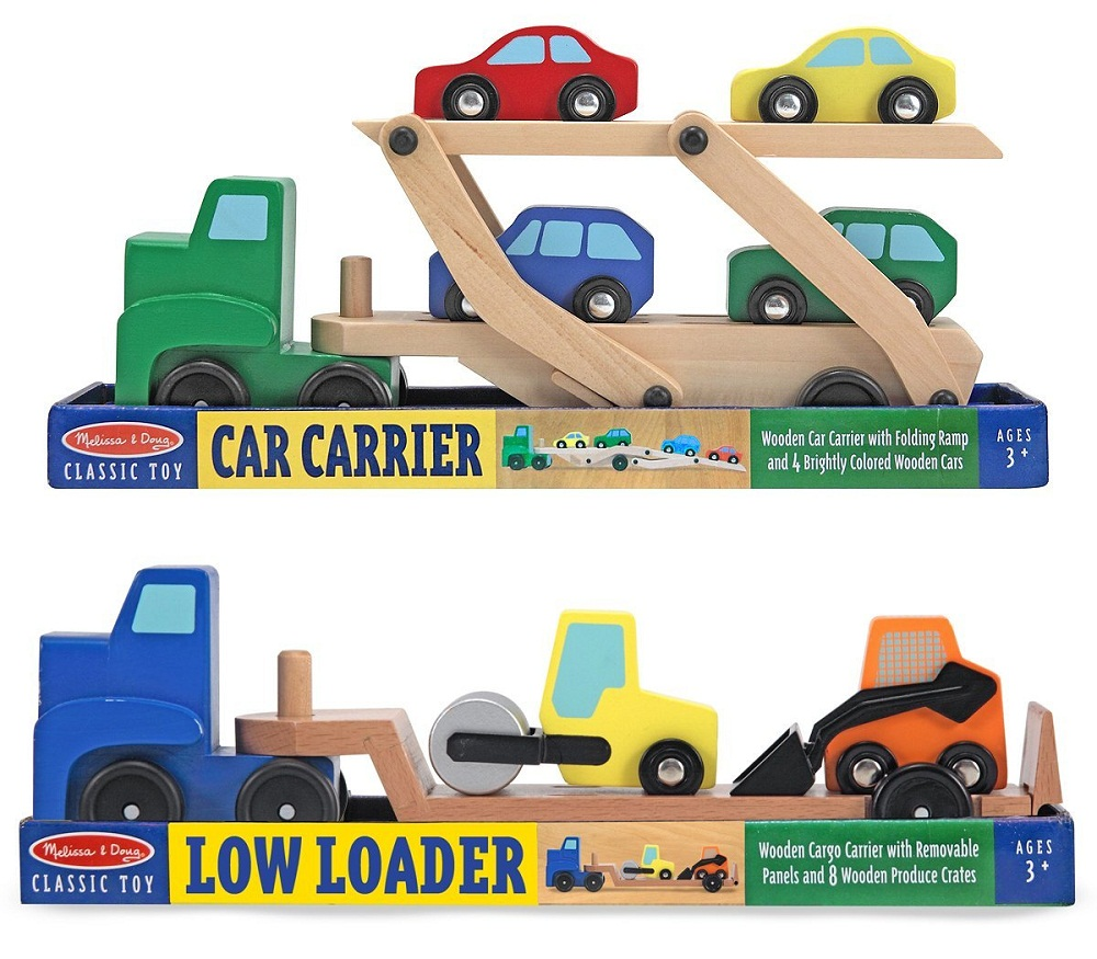 Toy vehicle truck cars loader trailer excavator playsets kids wooden classic model toys car carrier truck
