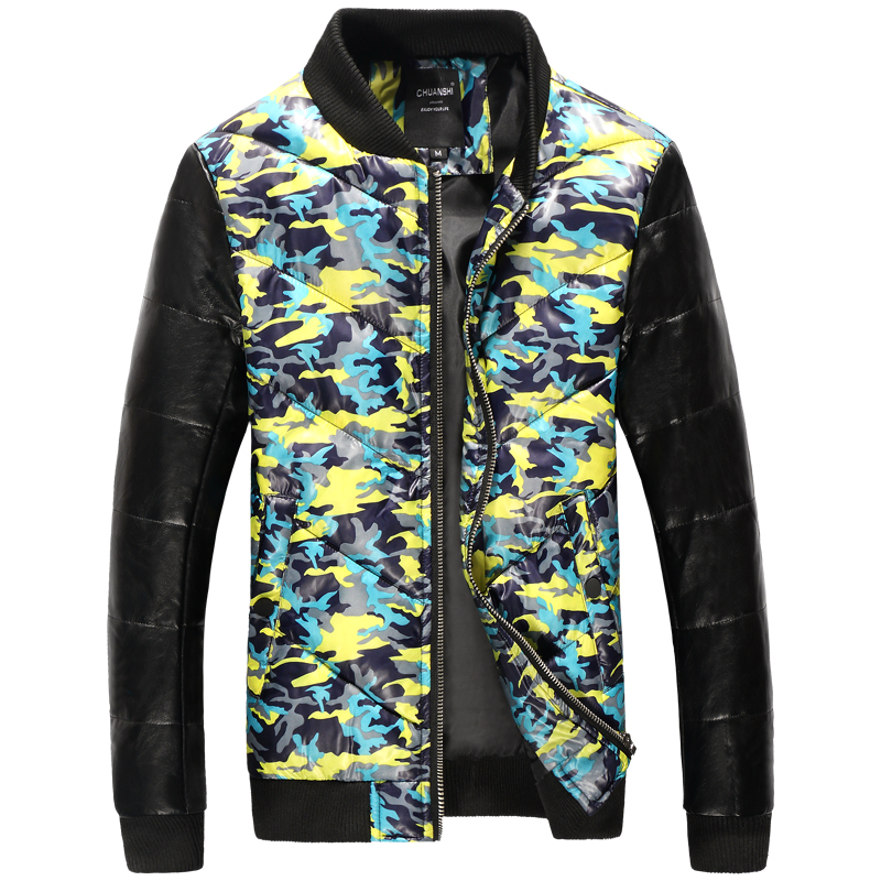 Winter the new men's printed cotton-padded jacket han edition cultivate one's morality man warm cotton-padded clothes splicing b